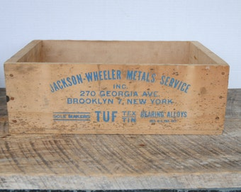 Vintage Wood Advertising Crate Jackson - Wheeler Metals Service Brooklyn New York Tuf Tex Tin