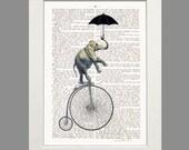 Elephant Acrobat Bicycle Elephant on Bicycle print art poster dictionary art umbrella wall decor elephant illustration giclee print