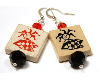Summer Outdoors Joker Earrings Birthday gift for her Girlfriend Fun Card Game Wood Pieces Good Luck Charm Red Black Sterling Silver