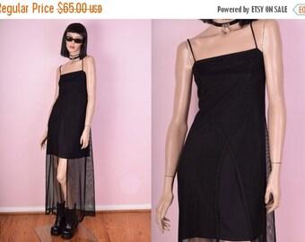 SUMMER SALE 90s Black Mesh Maxi Dress
