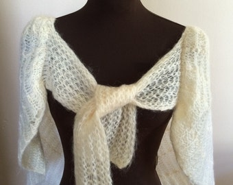 Vintage cream wool & mohair shawl