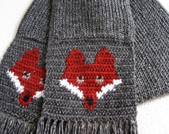 Red Fox Scarf.  Charcoal gray knitted scarf with foxes for women. Knit fox scarf.