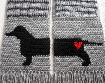 Knit Dachshund Scarf.  Gray striped knitted scarf with a dachshund silhouette. Wiener dog scarf. Doxie dog