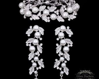 Bridal jewelry set, Bridal earrings, bridal bracelet, Wedding jewelry, Pearl bracelet, wedding earrings, chandelier earrings, Pearl earrings