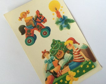 Vintage Germany Decals Planet-Verlag Christmas Xmas Gifts Toys Horse Candle 1983