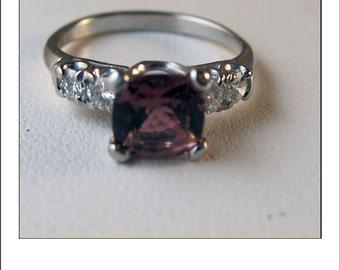 Vintage Platinum 1.2 CT Cushion Cut Pink Tourmaline and Diamond Engagement Ring