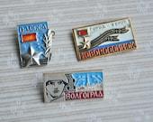 Set of 3 Vintage Soviet aluminum badges.