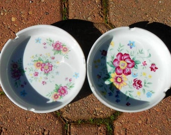 Two Vintage Floral Ashtrays Made In China