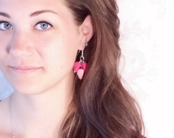 Hot Pink and Light Pink beaded dangle earrings