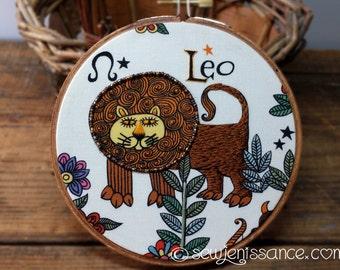 Zodiac Leo Embroidery Hoop Art Wall Hanging OOAK  Ready to Ship