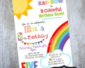 Rainbow Invitation Printable party invite by Luv Bug Design