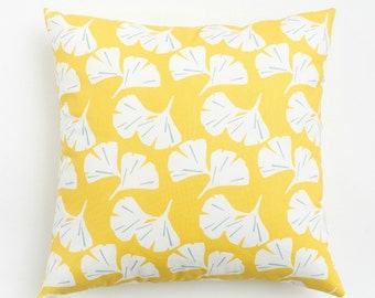Yellow Gingko Pillow / Yellow Throw Pillow / Yellow and Gray / Made in the USA / Zippered Pillow Cover Washable