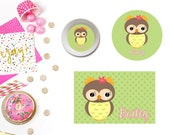 Owl Plate/Bowl/Placemat . Personalized Plate/Bowl/Placemat . Owl Nursery . Owl Party . Girls Plate/Bowl/Placemat