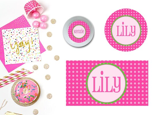 Polka Dots Pink Plate/Bowl/Placemat . Personalized Plate/Bowl/Placemat . Preppy Plate/Bowl/Placemat . Girls Plate/Bowl/Placemat