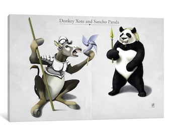 iCanvas Donkey Xote And Sancho Panda Gallery Wrapped Canvas Art Print by Rob Snow