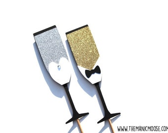 Photo Booth Props ~ Bride and Groom Champagne Flutes ~ Set of 2 GLITTER Photo Booth Props ~ LIMITED EDITION