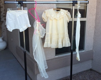 1930s girls dress & accessories First Communion w/ VEIL, tap pants panties, stockings, garter belt, size 6 - 8 Catholic antique vintage