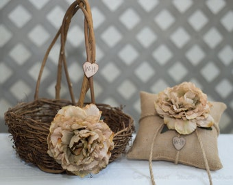 Rustic large twig flower girl basket and burlap ring bearer pillow personalized with bride and groom initials other flowers to select from