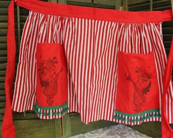 Vintage Christmas Apron, Handmade Gathered Skirt Mid Century Cotton Print