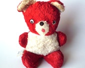 Vintage Plush Columbia Toy Products Stuffed Teddy Bear, Red and White
