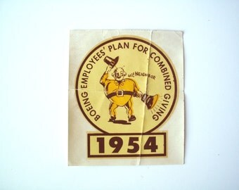 Vintage Boeing Water-Slide Window Decal from 1954, Plan for Combined Giving