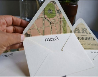 Merci Note Card Set of 8 with Antique Paris Map Lined Envelopes - Wanderlust Collection