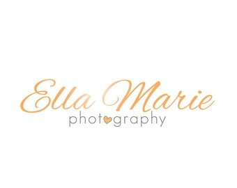 Photography Logo and Watermark - Premade Script Heart Customizable Logo Design