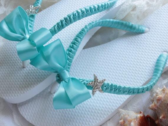 Aqua Blue Bridal flip flops, Bridal Sandals Bridal shoes, decorated flip flops, beach wedding shoes, starfish flip flops, CUSTOM COLORS