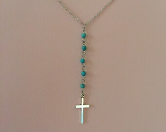 Cross Y necklace/ turquoise and silver cross/ Faith neclace/ Christian jewelry/ silver cross neckace/ linked turquoise beads/ flat cable