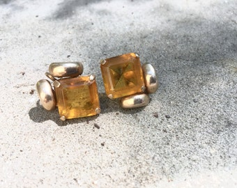 Citrine Yellow Glass Earrings Antique Retro Fashion Jewelry