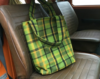 Green Westfalia Plaid Tote Bag