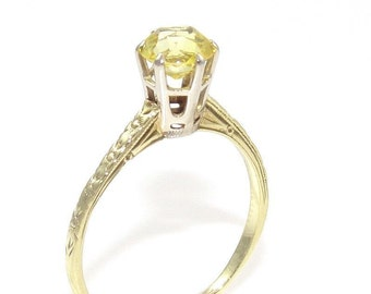 Vintage Yellow Sapphire Solitaire Ring YG/WG 14K 2.2gm Size 8 Engagement Wedding