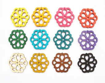 Dyeing Series - 46x 46 mm  Variety of Colors Filigree Flower Wood Dangle/ Wooden Charm/Pendant NM87