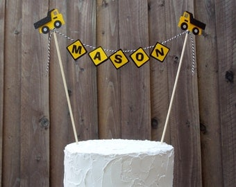 Cake Banner Bunting Centerpiece Construction Signs with Dump Trucks for Construction Birthday party