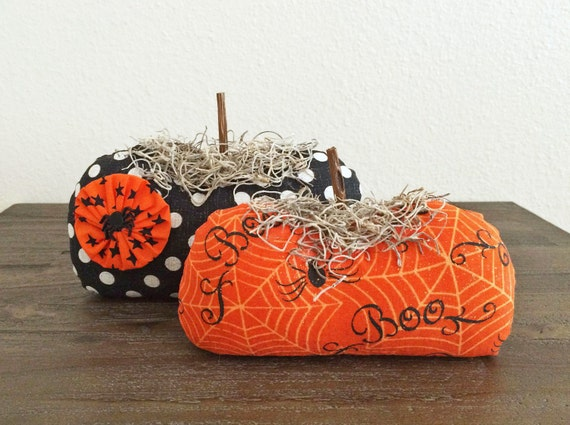 Stuffed Fabric Pumpkins - Halloween Print
