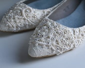 French Pleat Bridal Pointed Toe Ballet Flats Wedding Shoes - All Full Sizes - Pick your own crystal color