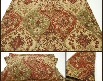 Upholstery Fabric- Remnant Fabric- pc w24.5inx24.5in L- Polyester Upholstery Fabric- Red-Olive-Straw