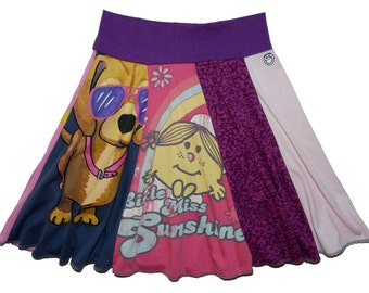 Little Miss Sunshine Girls Size 7 8 Upcycled Hippie Skirt Twirly Skirt Circle Skirt recycled t-shirt clothing Twinkle Skirts Twinklewear