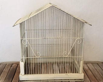 Vintage White Pacific Birdcage Shabby Cottage