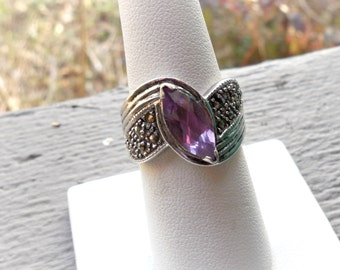 Sterling silver amethyst ring, marcasite, vintage, artisan signed, size 8 1/4