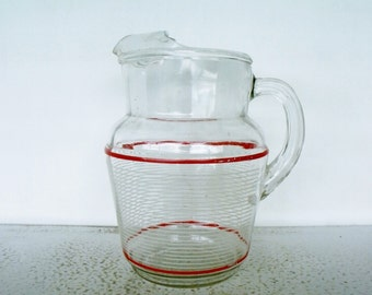 Mid Century Pitcher Glass Red White Stripes