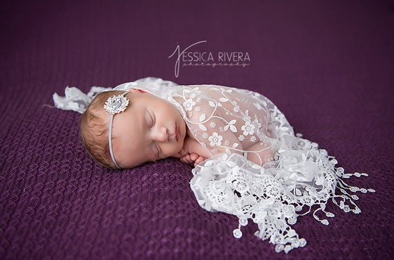 White Newborn Baby Lace Wrap with Fringe AND/OR Vintage Rhinestone Headband - photo shoots, bebe, foto, photographer, by Lil Miss Sweet Pea