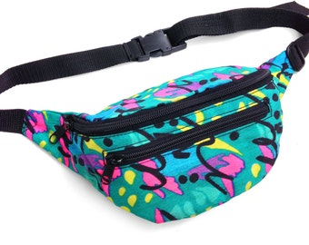 Wicked 80s Neon Splatter Waves Allover Print Fanny Pack - 24 to 34