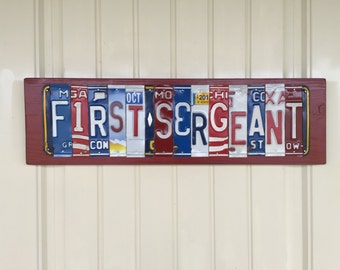 First Sergeant License Plate Sign--military signs--USMC signs--Marine Corps signs--Armed Forces signs--veteran signs--1st Sgt