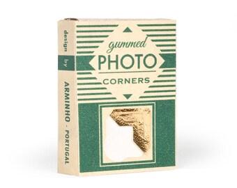 Photo Corner Box Gold - handmade printed photography album corner box - vintage inspired