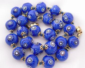 Vintage Millefiori Necklace,  Venetian Murano Beads, Italian Millefiore Jewelry