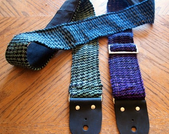 Guitar Strap - SALE - Hand Woven Multi-Color Houndstooth with Black Denim Backing - Wool Fiber, Leather Ends - Bass Strap, Instrument Strap