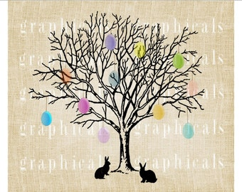 Easter bunny pastel egg tree Instant graphic Digital download image transfer for iron on transfer burlap pillow decoupage papercraft No.2241