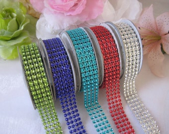 "3/4"" Diamond Wrap Mesh Ribbon Silver, Red, Turquoise, Royal Blue, Apple Green for Wedding Decor, Baby Shower, Embellishment, 3 yards"