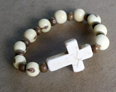 Side cross bracelet -  WHITE - Acai , Howlite Cross and Brown Beads-  Versatile, Stackable